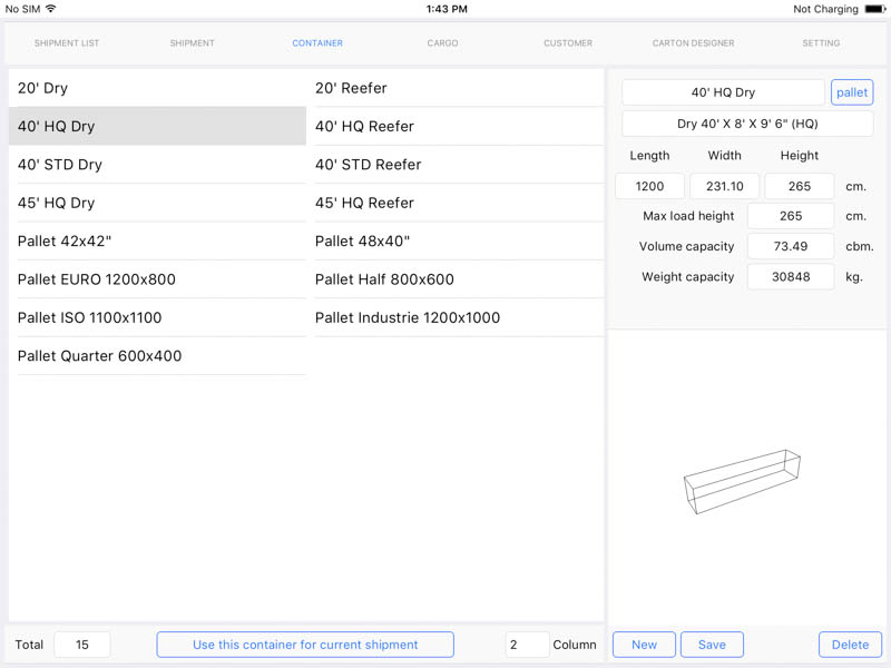 Cargo Optimizer for iPad